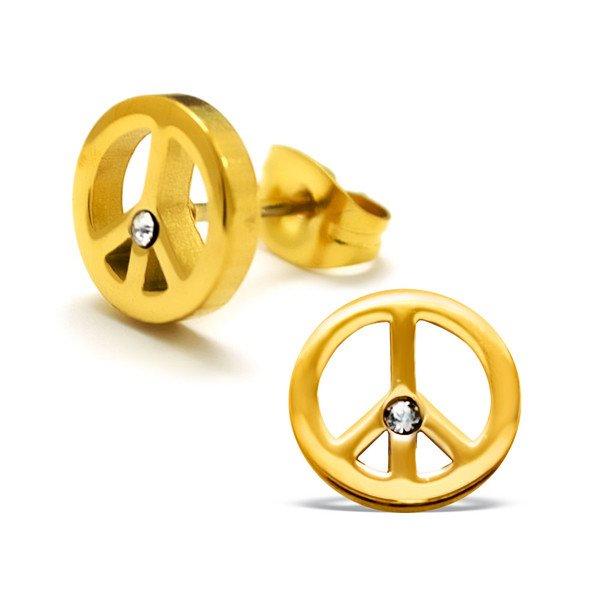 Amanto Oorbellen Brett Gold - Dames - 316L Staal Goud PVD - Zirkonia - 9 x 9 mm-0