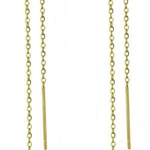 Amanto Oorbellen Beno Gold - Dames - 316L Staal Goud PVD - Muziek - Doortrek - 130 x 8 mm-0