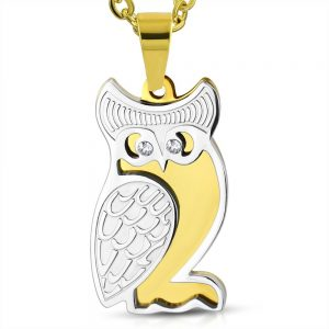 Amanto Ketting Birk - Dames - 316L Staal Goud PVD - Zirkonia - Uil - 27 x 15 mm - 50 cm-0