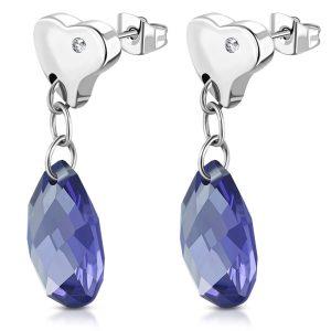 Amanto Oorbellen Bercan Violet - Dames - 316L Staal - Zirkonia - Hart - 33 x 10 mm-0