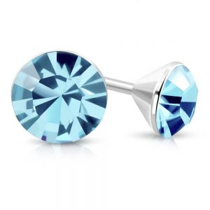 Amanto Oorbellen Bera Blue - Dames - 316L Staal - SWAROVSKI ELEMENTS™ - ∅4 mm-0