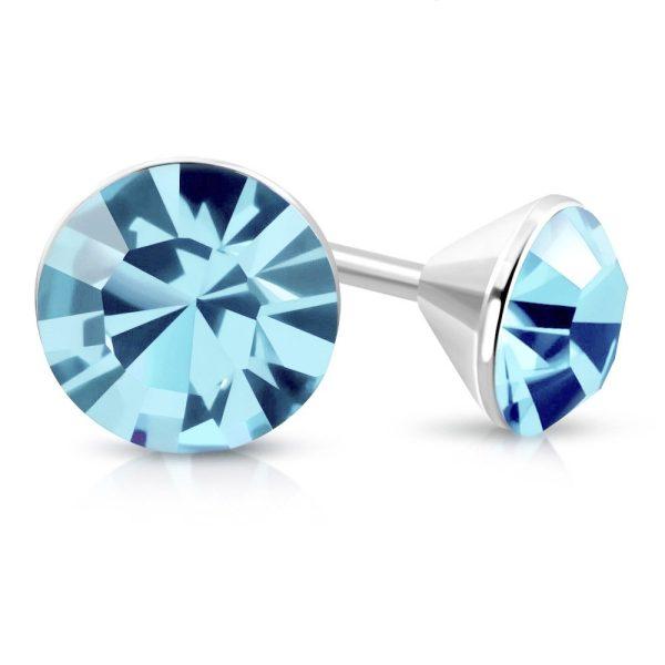 Amanto Oorbellen Bera Blue - Dames - 316L Staal - SWAROVSKI ELEMENTS™ - ∅4 mm-0