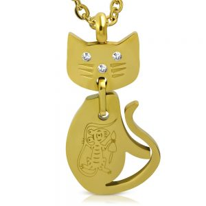 Amanto Ketting Bjor Gold - Dames - 316L Staal Goud PVD - Zirkonia - Poes - 45 x 23 mm - 50 cm-0