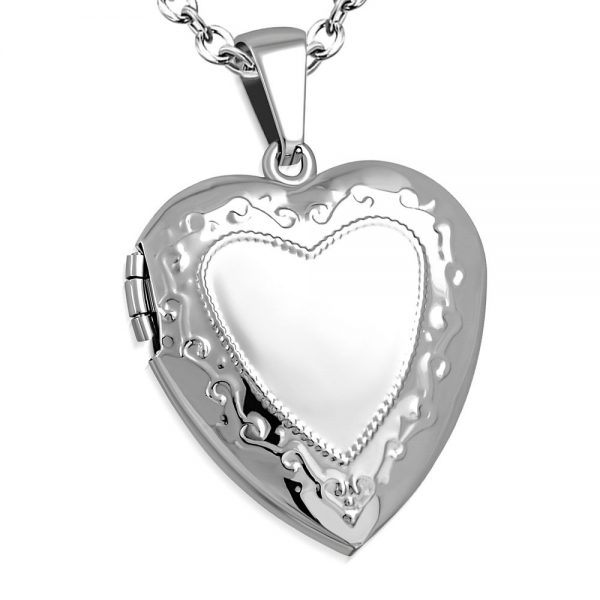 Amanto Ketting Boika - Dames - 316L Staal - Medaillon - Hart - 30 x 26 mm - 45 cm-0
