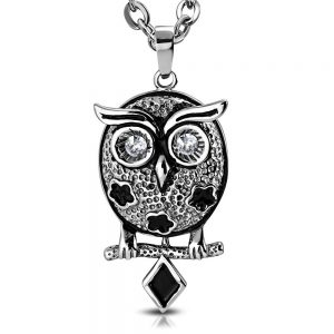 Amanto Ketting Bor - Dames - 316L Staal - Zirkonia - Uil - 41 x 24 mm - 45 cm-0