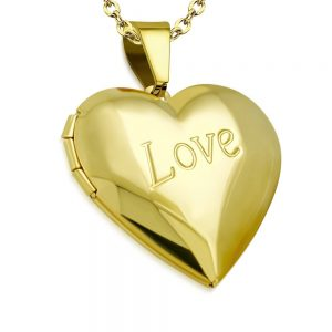 Amanto Ketting Boja Gold - Dames - 316L Staal Goud PVD - Medaillon - Hart - 30 x 30 mm - 45 cm-0