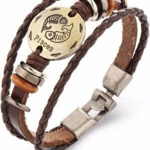 Montebello Armband Vissen - Unisex - Leer - Metaal - Horoscoop - 21 cm-0