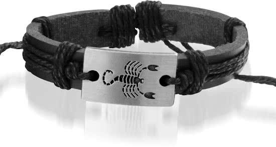 Montebello Armband Schorpioen - Unisex - Leer - Horoscoop - ∅20-23cm-0
