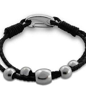 Montebello Armband Akasha - Dames - 316L Staal - Leer - Bedels - 20 cm-0