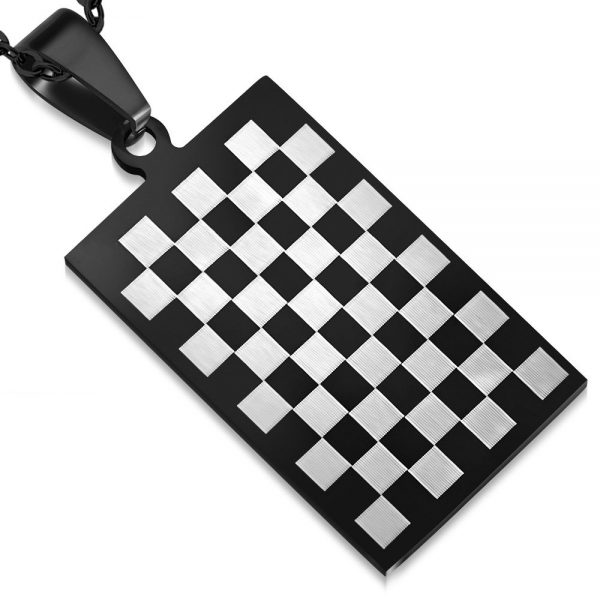 Amanto Ketting Casion - Heren - 316L Staal - Dambord - 37 x 20 mm - 60 cm-0