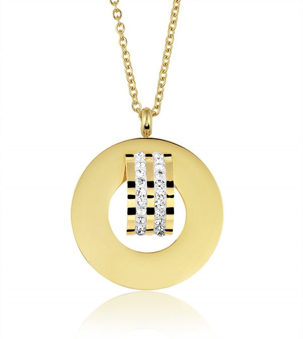 Montebello Ketting Bronte - Dames - 316L Staal Gold PVD - Zirkonia - 30 x 30 mm - 45 cm-0