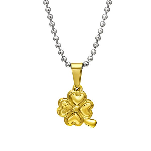 Amanto ketting Camon Gold - Dames - 316L Staal - Klaver - ∅15 mm - 45 cm-14018