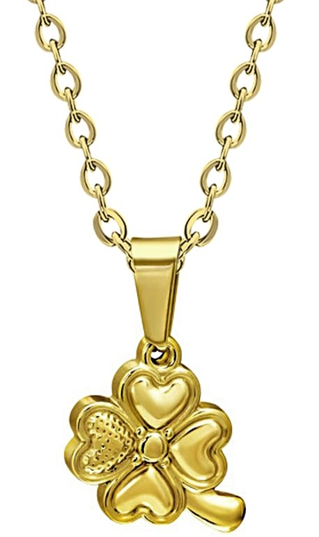 Amanto ketting Camon Gold - Dames - 316L Staal - Klaver - ∅15 mm - 45 cm-0