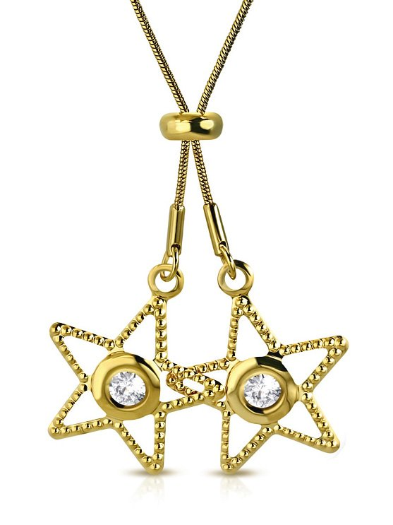 Amanto Ketting Cayden Gold - Dames - 316L Staal Goud PVD - Zirkonia - Ster - 25 x 25 mm - 80 cm-0