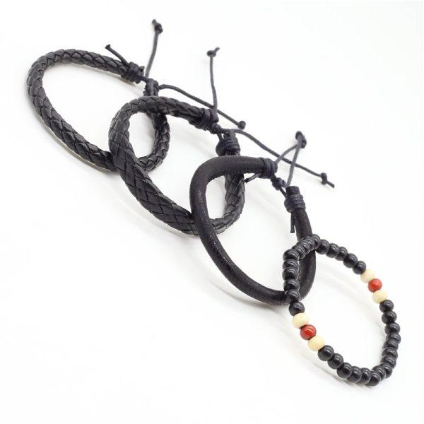 Montebello Armbanden Cadi - Heren - leer - Kralen - ∅20-23cm (aanpasbaar)-13950
