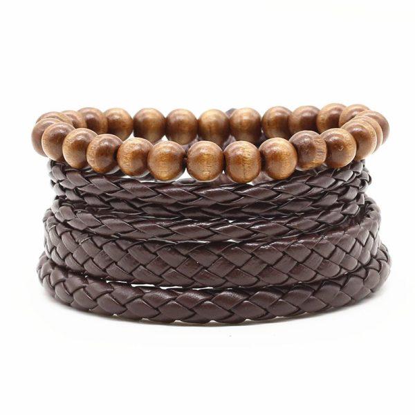 Montebello Armbanden Caelen - Heren - leer - Kralen - 4-delig - 20 - 23 cm-0