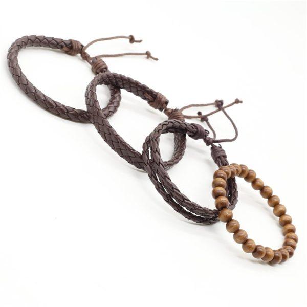Montebello Armbanden Caelen - Heren - leer - Kralen - 4-delig - 20 - 23 cm-13949