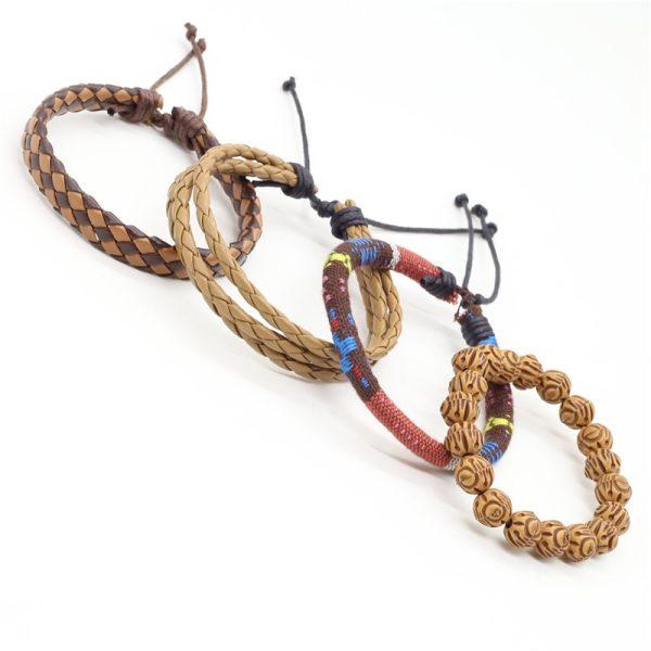 Montebello Armbanden Cagla - Heren - leer - Kralen - Touw - 4-delig - 20 - 23 cm-13955