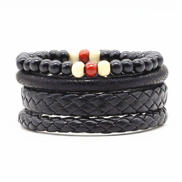 Montebello Armbanden Cadi - Heren - leer - Kralen - ∅20-23cm (aanpasbaar)-0