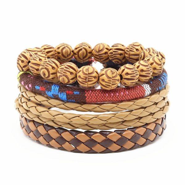 Montebello Armbanden Cagla - Heren - leer - Kralen - Touw - 4-delig - 20 - 23 cm-0