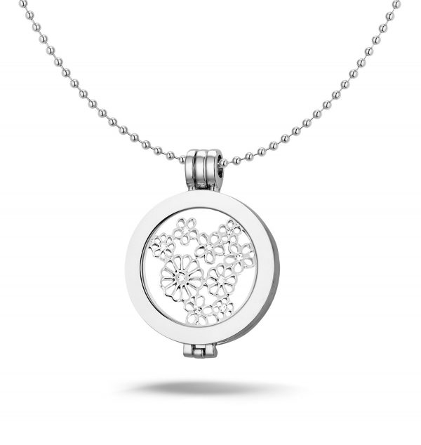 Montebello Ketting Alisa - Dames - Staal - Messing - Zirkonia - Bloem - ∅35 mm - Coin - 3-delig - 80 cm-0