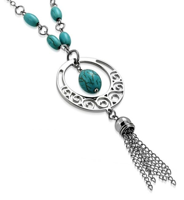 Amanto Ketting Cem - Dames - 316L Staal - Turkoois - ∅ 32 mm - 45 cm-0