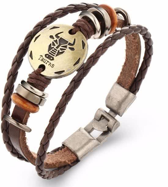 Montebello Armband Stier - Unisex - Leer - Staal - Horoscoop - 20 cm-0