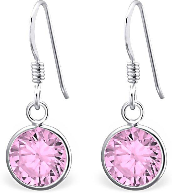 Montebello Oorbellen Aagje Pink - Dames - Zilver - Zirkonia - ∅8mm - 22mm-0