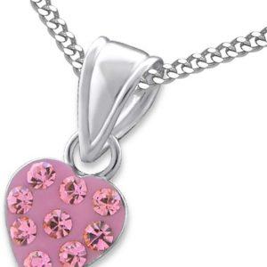 Amanto Kids Ketting Charaf Pink - Meisjes - 925 Zilver - Zirkonia - Hart - 7 x 7 mm - 38 cm-0