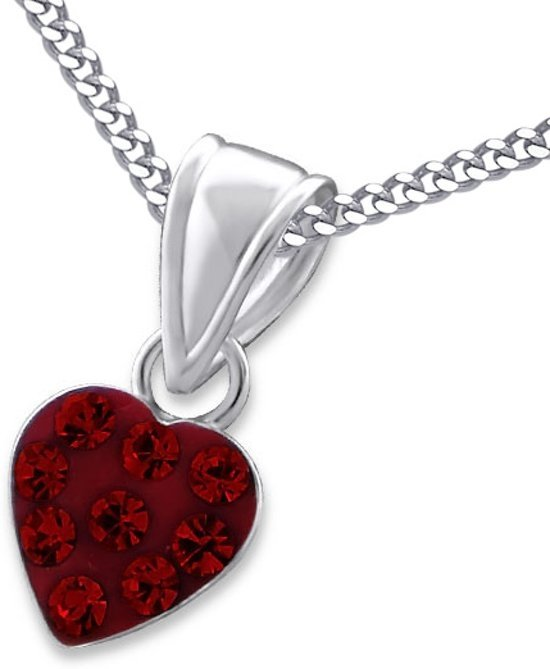 Amanto Kids Ketting Charaf Red - 925 Zilver E-Coating - Hart - 7x7mm - 38cm-0