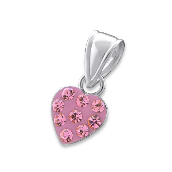 Amanto Kids Ketting Charaf Pink - Meisjes - 925 Zilver - Zirkonia - Hart - 7 x 7 mm - 38 cm-14420