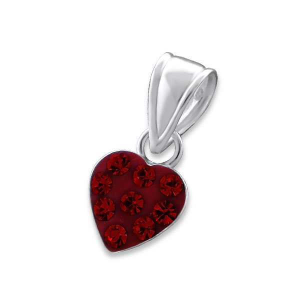 Amanto Kids Ketting Charaf Red - 925 Zilver E-Coating - Hart - 7x7mm - 38cm-14422