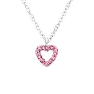 Amanto Kids Ketting Cheneal Pink - Meisjes - 925 Zilver - Zirkonia - Hart - 6 x 6 mm - 39 cm-0