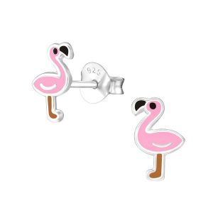 Amanto Kids Oorbellen Christan - Meisjes - 925 Zilver - Flamingo - 6x8mm-0