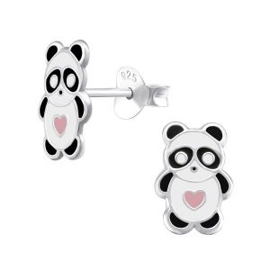 Amanto Kids Oorbellen Ci - Meisjes - 925 Zilver - Epoxy - Panda - 6 x 10 mm-0