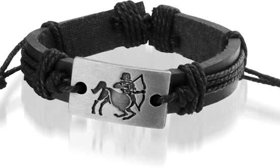 Montebello Armband Boogschutter - Unisex - Leer - Metaal - Horoscoop - ∅20 - 23 cm-0