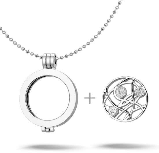 Montebello Ketting Alexandia Z - Dames - Staal - Messing - Zirkonia - ∅35 mm - Coin - 3-delig - 80 cm-14627