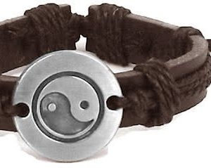 Montebello Armband Tai Chi Brown - Unisex - Leer - Metaal - Hennep - ∅20 - 23 -0
