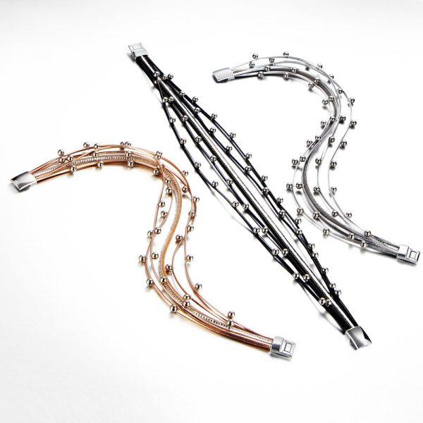 Montebello Armband Bunna S - Pu Leer - Kristal - 316L Staal - 15mm - 39cm-14707