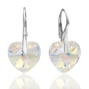 Montebello Oorbellen Kolby - Dames - Zilver Gerhod.- Swarovski Crystals® - Hart - 30x14mm-0