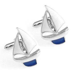 Amanto Manchetknopen Clen Blue - Heren - 316L Staal - Zeilboot - 18 x 26.5 mm-0