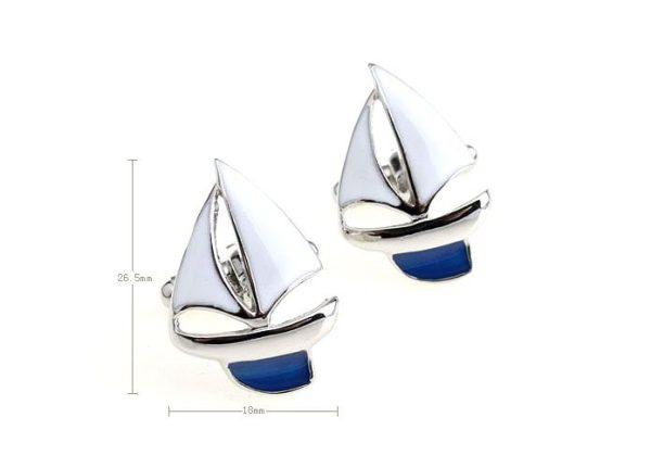 Amanto Manchetknopen Clen Blue - Heren - 316L Staal - Zeilboot - 18 x 26.5 mm-15156