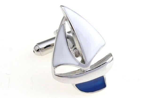 Amanto Manchetknopen Clen Blue - Heren - 316L Staal - Zeilboot - 18 x 26.5 mm-15155