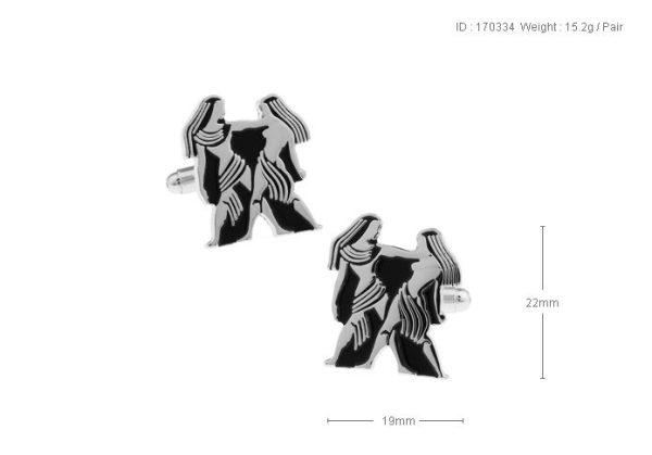 Amanto Manchetknopen Tweeling - Heren - 316L Staal - Horoscoop - 22 x 19 mm-15115