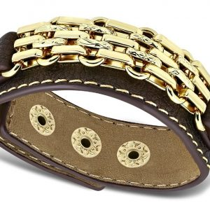 Amanto Armband Coriun Brown - Dames - PU Leer - Messing Goudkleurig - 20 mm - 22 cm-0