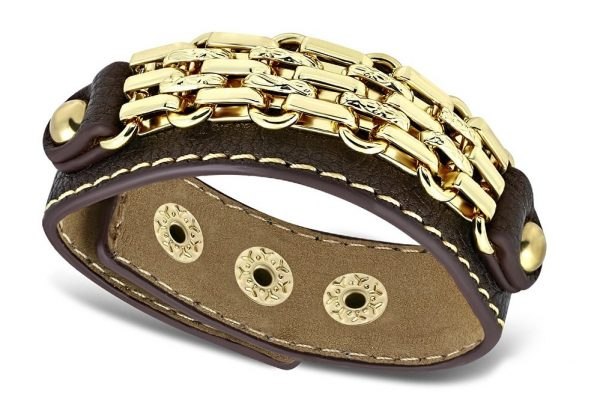 Amanto Armband Coriun Brown - Dames - PU Leer - Messing Goudkleurig - 20 mm - 22 cm-0