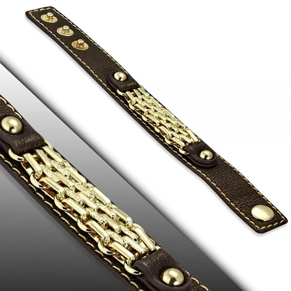 Amanto Armband Coriun Brown - Dames - PU Leer - Messing Goudkleurig - 20 mm - 22 cm-15297