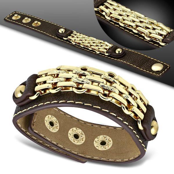 Amanto Armband Coriun Brown - Dames - PU Leer - Messing Goudkleurig - 20 mm - 22 cm-15298