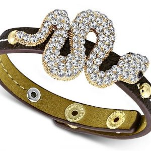 Amanto Armband Cormac Brown - Dames - PU Leer - Messing - Zirkonia - Slang - 30 mm - 22 cm-0