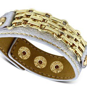 Amanto Armband Coriun Grey - Dames - PU Leer - Messing Goudkleurig - 20 mm - 22 cm-0